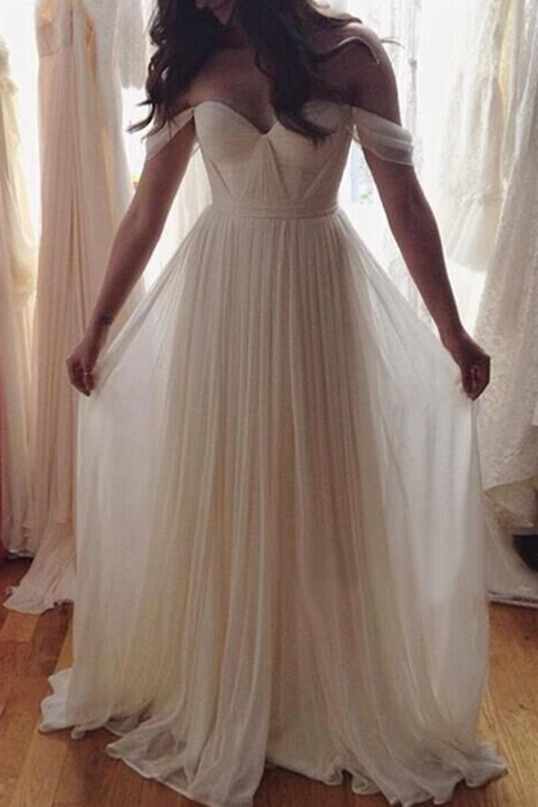 2017 vestidos de baile del hombro una longitud de línea de gasa con volantes piso US$ 139.99 VTO ...