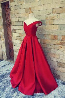 2019 vestidos de baile fuera del hombro de satén rojo del tren del barrido del cordón para arrib ...