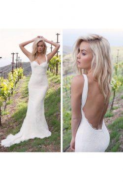 2019 Vestidos de boda abiertos de la correa del cordón de la sirena de las correas traseras atra ...