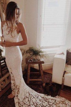 2019 Vestidos de boda abiertos de la parte posterior atractivos del cordón del cuello de la sire ...