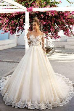 2019 vestidos de boda cuchara mangas largas cola de tul con apliques US$ 299.99 VTOPYEDQ7GN &#82 ...