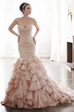 2017 vestidos de boda de la sirena del amor de la blusa moldeada del Organza del tren de la cort ...