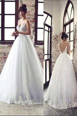 2018 vestidos de boda de las correas de espagueti de tul con apliques Y Sash US$ 299.99 VTOPYT4R ...