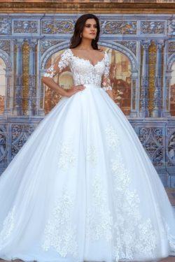 2019 vestidos de boda del cuello en V de mitad de longitud de las mangas de tul con apliques US$ ...