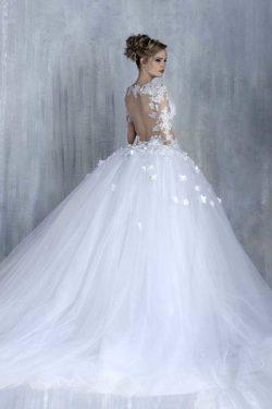 2018 vestidos de boda del vestido de bola de manga larga de tul con flores hechas a mano la capi ...