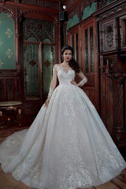 2018 vestidos de boda largos del vestido de bola de la cucharada de Tulle de las mangas con el t ...