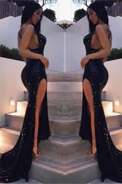 Vestidos de fiesta negros atractivos con lentejuelas brillantes delanteros largos divididos espa ...