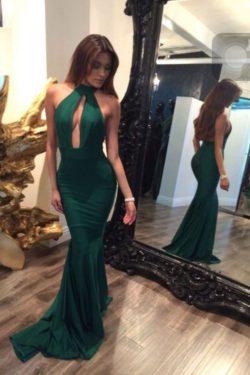Vestidos de fiesta sin espalda de sirena verde, vestidos de noche atractivos para adolescentes U ...