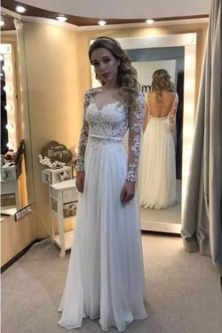 2019 vestidos de novia mangas largas mangas abiertas espalda gasa con apliques US$ 199.99 VTOP2T ...