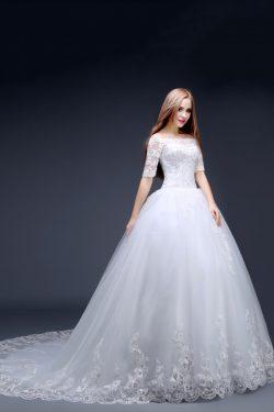 2018 vestidos de una línea de boda del cuello del barco media manga con apliques Y Granos Tul US ...