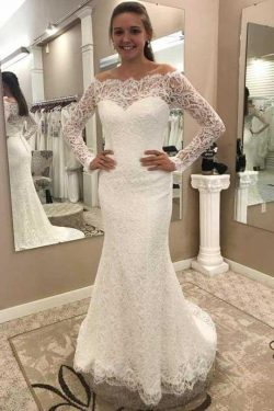 Chic Off the Shoulder Long Sleeves Lace Appliques Sweep Train Wedding Dresses W452