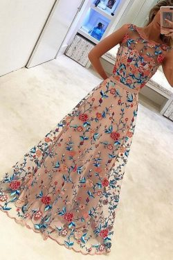 A Line Floral Scoop Sleeveless Prom Dresses with Embroidery, Long Formal Dresses UK on sale – Pr ...