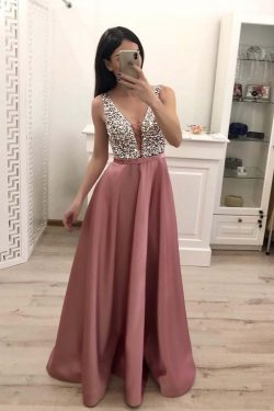 Buy Elegant A Line V Neck Beading Prom Dresses Straps Satin Evening Dresses uk PW496 on sale – P ...