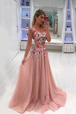 Embroidery Appliques Long A line Pink Prom Dresses Tulle Cheap Formal Dresses on sale – PromDres ...