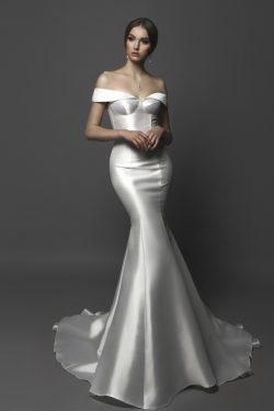 2019 nuevos vestidos de boda de sirena de la llegada del hombro de barrido tren satinado US$ 159 ...