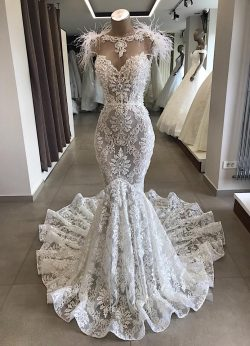 Spitze Brautkleid Meerjungfrau | Vintage Kleider Hochzeit | Brautkleid mit Federn