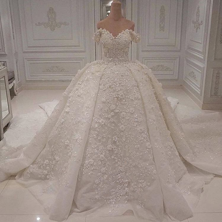 Luxus Hochzeitskleid Spitze | Prinzessin Brautkleid Günstig Online