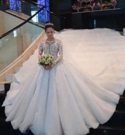 Luxus Brautkleid Mit Ärmel | A Linie Spitze Hochzeitskleider Online