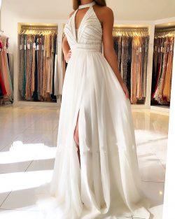 Schöne Weiße Abendkleider Lang | Chiffonkleider Abendmoden Online