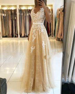 Fashion Abendkleider Champagner Spitze Lange Abendmoden Abiballkleider Online