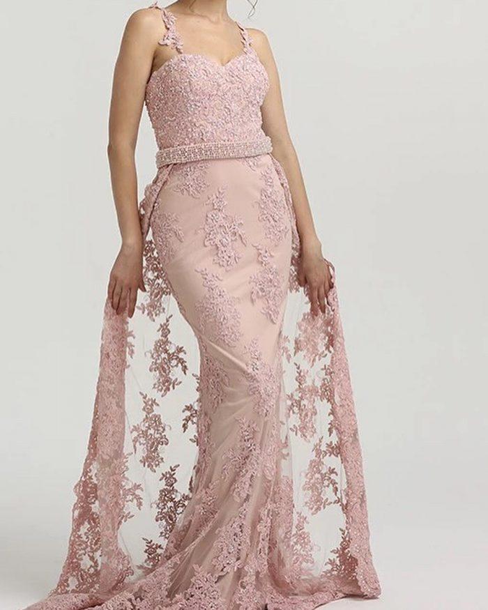Rosa Abendkleider Lang Spitze | Abendmoden Abiballkleider Online