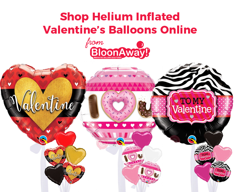 Shop Helium Inflated Valentine's Balloons Online from BloonAway