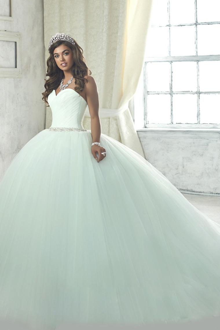 2019 vestido de bola de tul de novia vestidos de quinceañera blusa acanalada US$ 239.99 VEP16RYZ ...