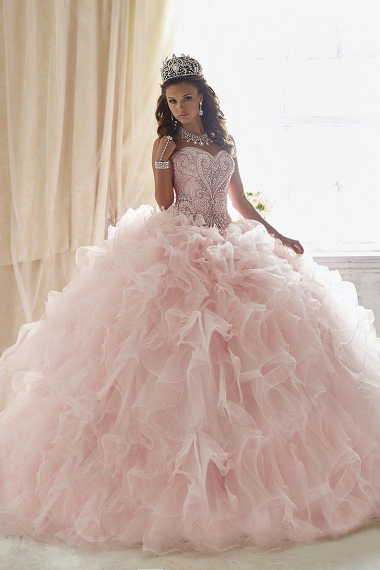 2018 vestido de bola del amor del Organza Vestidos de quinceañera Corte de tren desmontable US$  ...
