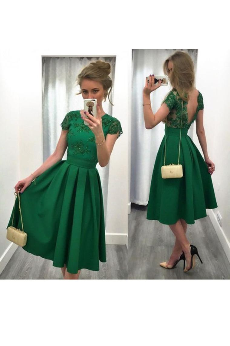 2019 vestidos de baile una línea de satén cuchara con Applique té de longitud abierta de nuevo U ...