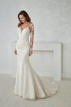 Vestidos de boda de la sirena del cordón de la manga larga del cuello de 2019 V con el Applique  ...