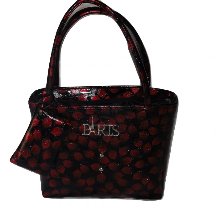 Red and black tote handbag