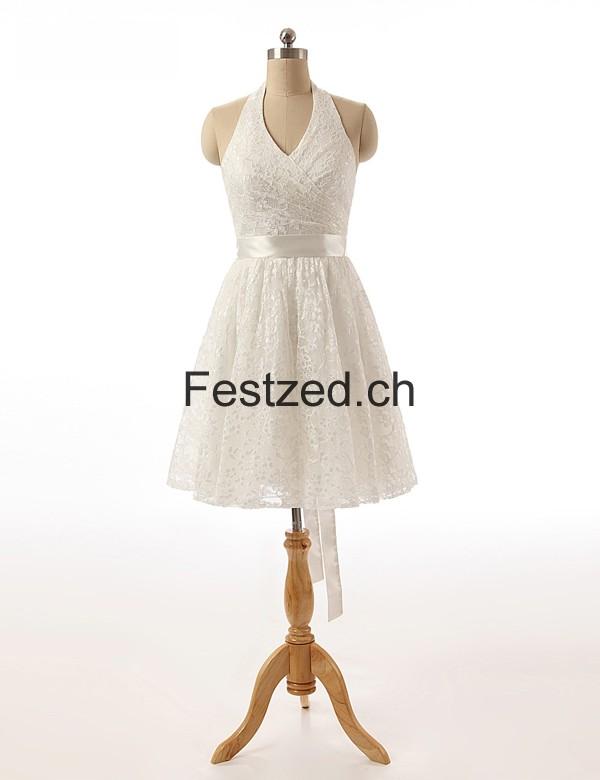 A-Linie Halfter Weiß Knielang Brautkleider – Festzed.CH