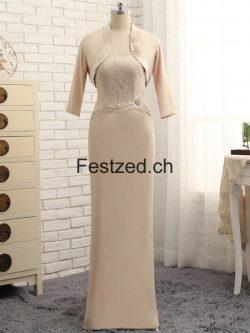 Champagner Lang Spitze Brautmutterkleider Mit Jacke – Festzed.CH