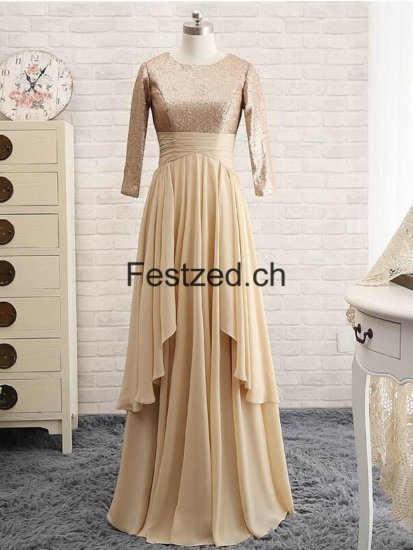 Champagner Lange-Ärmel Chiffon Brautmutterkleider – Festzed.CH