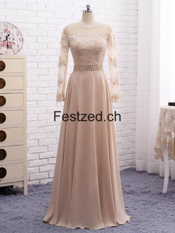 Champagner Lange-Ärmel Perlen Chiffon Brautmutterkleider – Festzed.CH