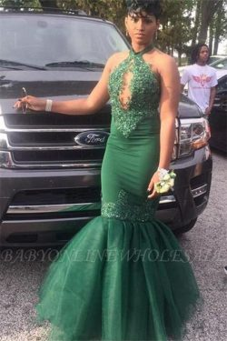 Dark Green Halter Appliques Mermaid Evening Gowns | Elegant Keyhole Sleeveless Tulle Prom Dresse ...