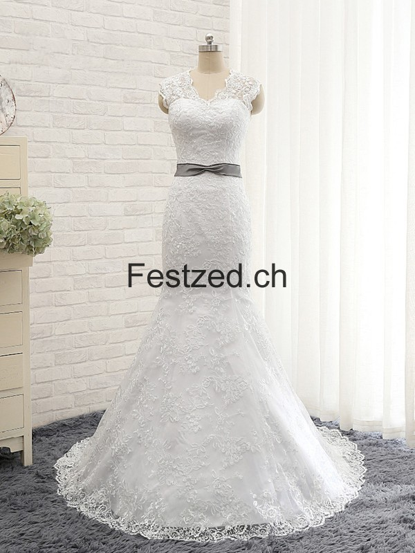 Lang Meerjungfrau Weiß Spitze Brautkleider – Festzed.CH