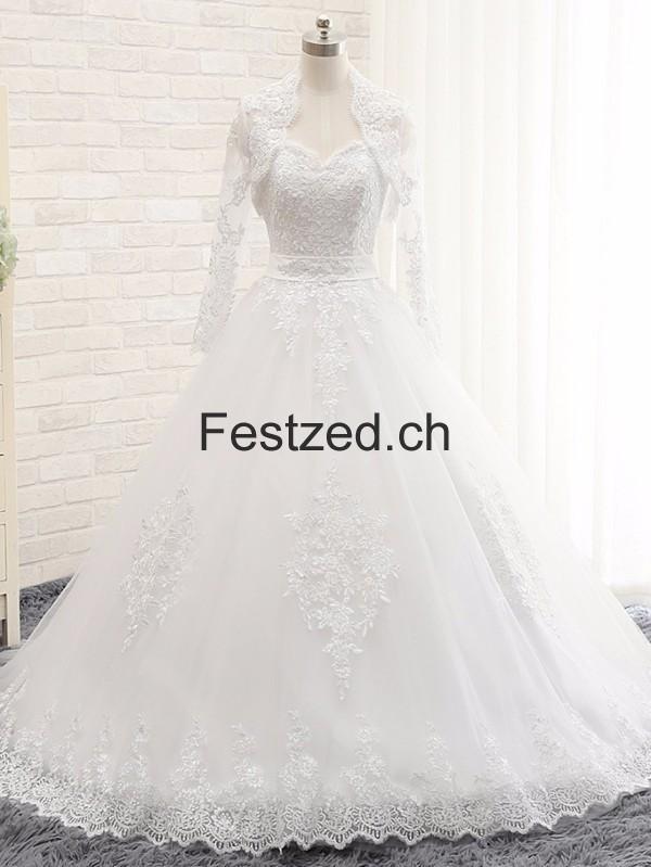 Lange A-Linie Perlen Tüll Brautkleider – Festzed.CH