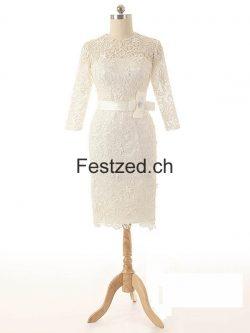 Lange Ärmel Knielang Spitze Brautkleider – Festzed.CH