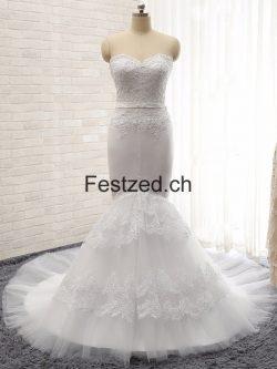 Meerjungfrau Herzausschnitt Weiß Brautkleider – Festzed.CH