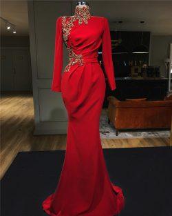 Abendkleid Rot Lang Günstig | Abendkleider mit Ärmel