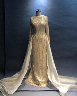 Luxus Abendkleider Lang Champagne | Abendmoden Abendkleid Mit Ärmel