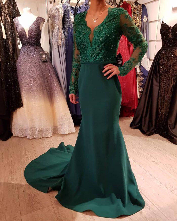 Elegante Abendkleid Grün | Günstige Abendkleider Lang mit Ärmel
