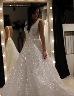 Elegante Abendkleider Lang Weiß Günstig | Abendkleid mit Glitzer
