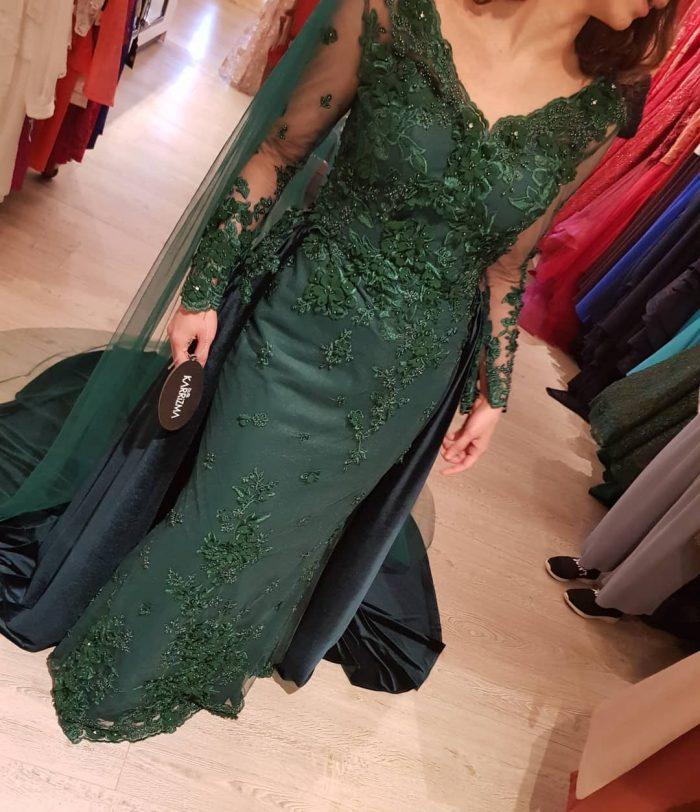 Elegante Grüne Abendkleider | Abendkleid Mit Ärmel Online