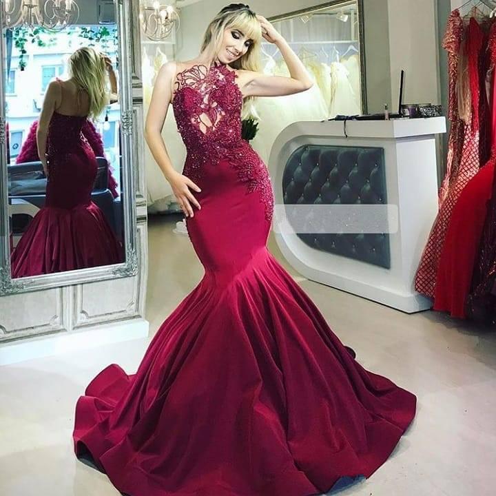 Elegante Abendkleider Lang Rot | Abendmoden mit Spitze Onlin