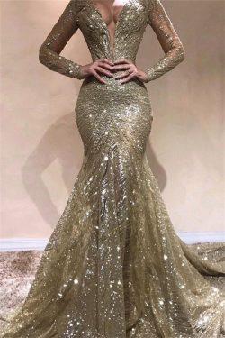 Elegante Abendkleider Mit Ärmel | Abendkleid Gold Mit Glitzer