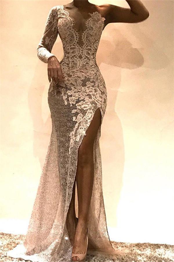 Elegante Abendkleider Mit Ärmel | Spitze Abiballkleider Online