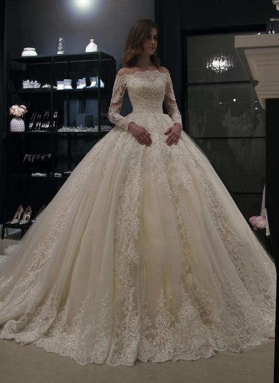 Elegante Brautkleider Prinzessin | Hochzeitskleid Mit Spitzenärmeln