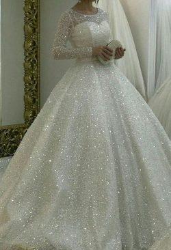 Elegante Brautkleider mit Glitzer | A Linie Brautkleid Mit Ärmel
